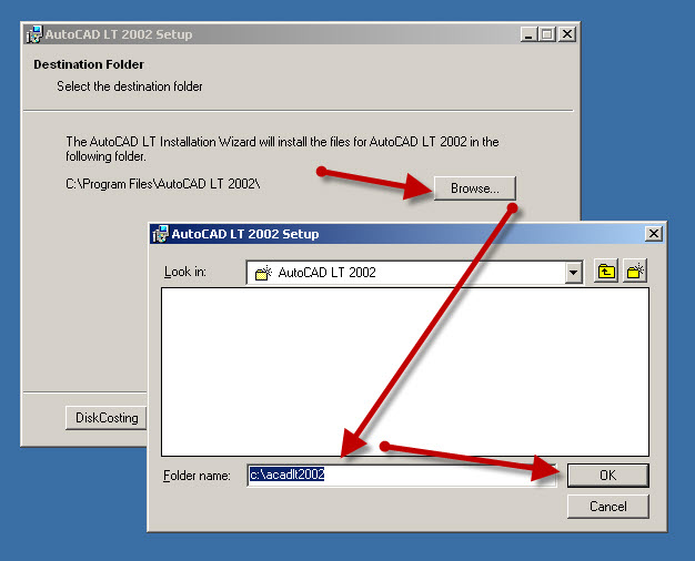You must change the default AutoCAD LT 2002 Install path