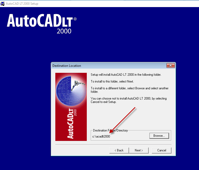 Setting custom install path for AutoCAD LT 2000