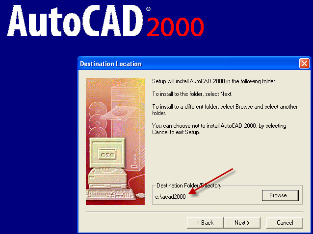 Setting AutoCAD 2000 custom install directory to c:\acad2000
