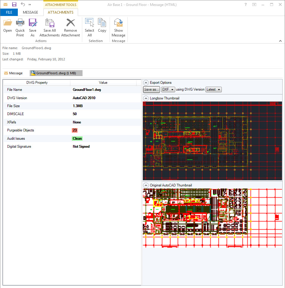 Preview DWG fiile inside of Outlook email