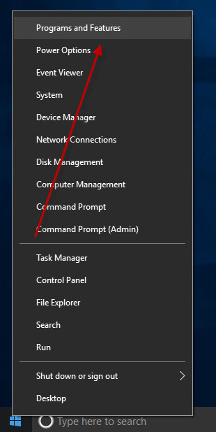 Select Programs and Features by Right-clicking the Windows 10 Start Menu