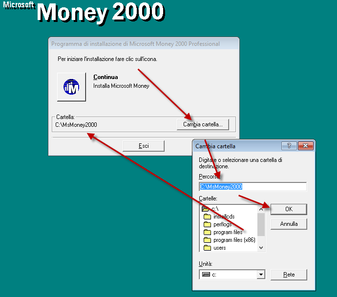 Setting the Microsoft Monet 2000 installation folder